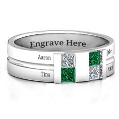 This centre-grooved ring is interrupted by two crevices each filled with two inset princess-cut stones. Personalise this item with birthstones or Swarovski Zirconia. Also add engravings of up to four nanes of your special ones as well as an inscribed date or message inside the band.