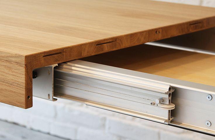 BLOX folding table guides - www.miloni.pl/en MILONI: wooden table, oak table, natural wood table, table design, furniture design, modern table
