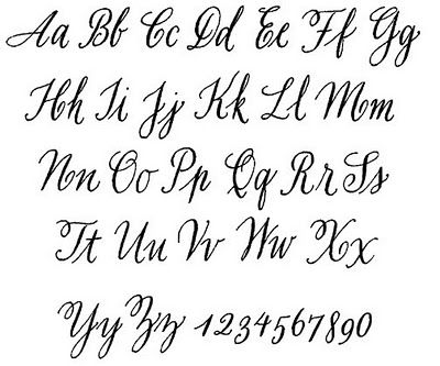 calligraphy alphabet. This may come in handy for making signs.