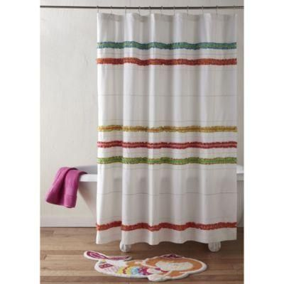 d-friendly shower curtain. 100% cotton shower curtain. Shower curtain covered with ruffles in white and bright colors, perfect for kids. Shower curtain measures 72 L x 72 W. Complete the... More Details