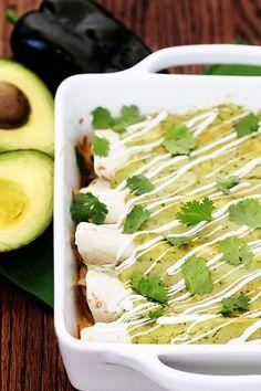 Chicken & Avocado Enchiladas   gimmesomeoven.com
