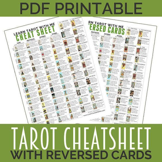 Dramatic image within free printable tarot cheat sheet