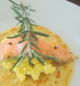 Savory Rosemary Pancakes with Smoked Salmon and Scrambled Eggs