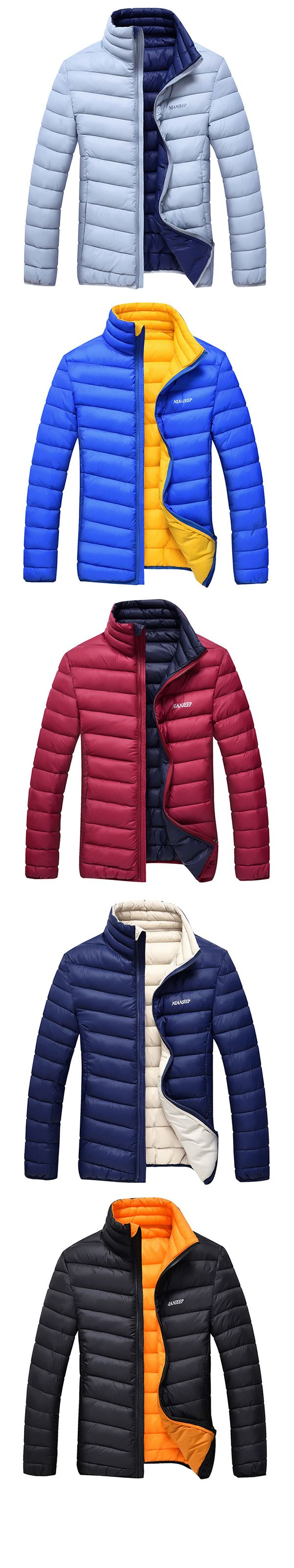 US$38.66 Winter Travel Thicken Warm Lightweight Stand Collar Solid Color Jacket for Men
