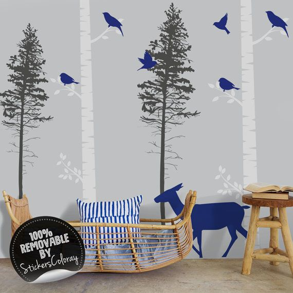 Birch tree wall decal, Birch and doe wall stickers, Peel and stick decal, Nursery wall decor, Forest with birds and does, Wall sticker #10