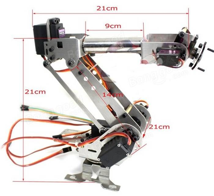 DIY 6DOF Aluminum Robot Arm 6 Axis Rotating Mechanical Robot Arm Kit Sale - Banggood.com