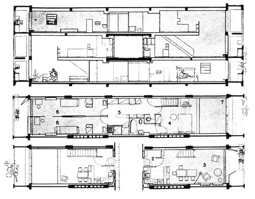 Plans and sections for the unit d habitation in marseille for Le corbusier unite d habitation