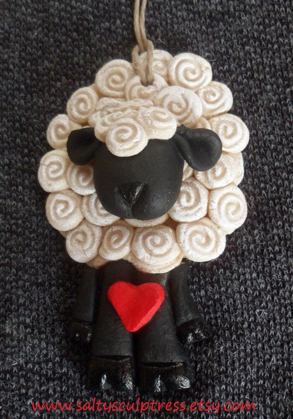 Ewe Loving Sheep Salt Dough Ornament Painted by…