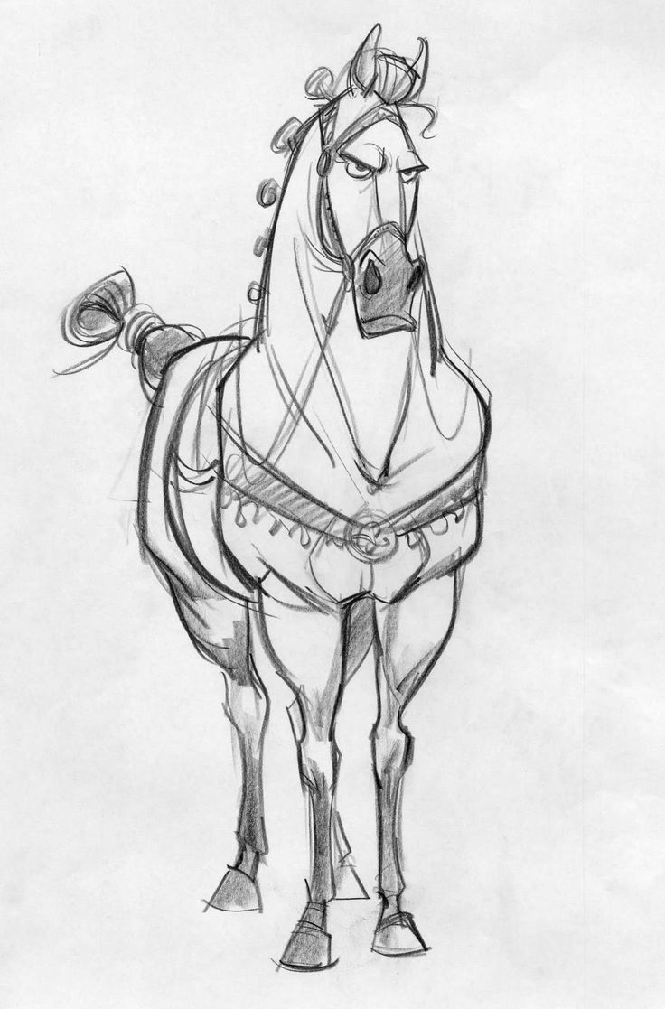 NICE SKETCH: for Tangled. Pretty good anatomy and functional tack. Hind legs cowhocked, and toed out (not good conformation), front feet toed out. They've done the typical thing of putting the eyeballs on the front of the head, unlike real horses who have the eyes on the sides of the head.