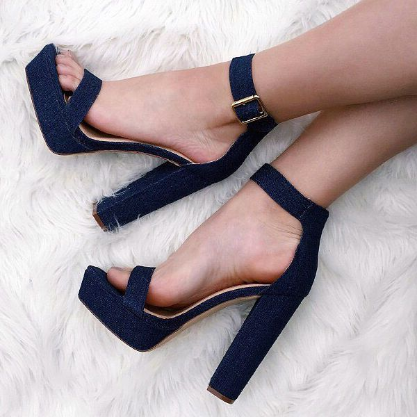 Ankle Strap Open Toe Chunky Heels