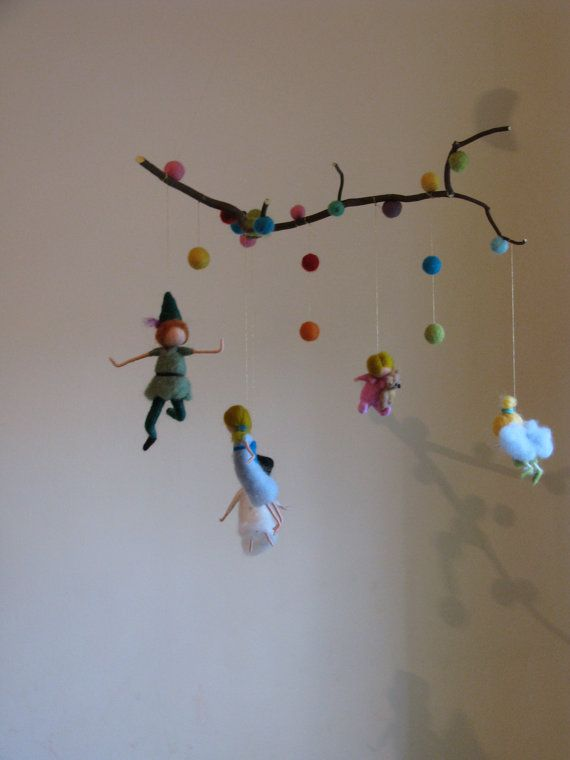 Peter pan and his friends needle felted mobile with branch
