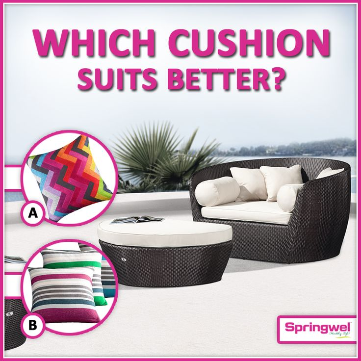 #Quiz‬ Of The #Week‬ fans! #Cushions‬ are one of the most popular #homeaccessories‬ that adds glamour & define the personality of #home‬ . we are confused can you suggest us which cushion suits better for this trendy sofa.