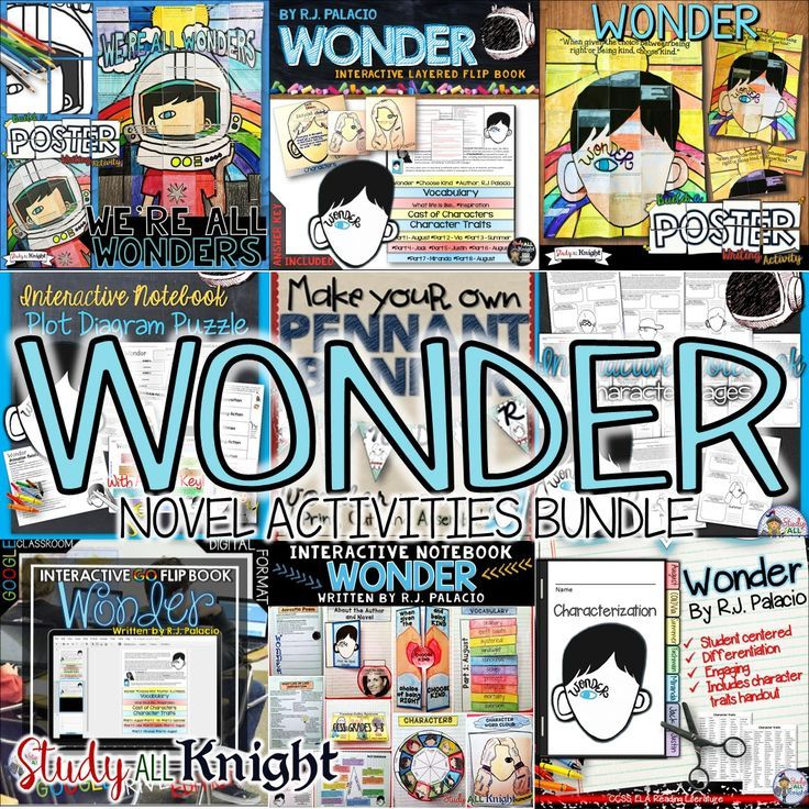 WONDER BY R.J. PALACIO NOVEL STUDY ACTIVITIES BUNDLE | Interactive Reading Notebook | Flip Book | Collaborative Posters | Writing Prompts | Pennant | Plot Diagram | Characters | Elementary Grades | Middle School | Read Aloud | Teachers and Students Love this Book!