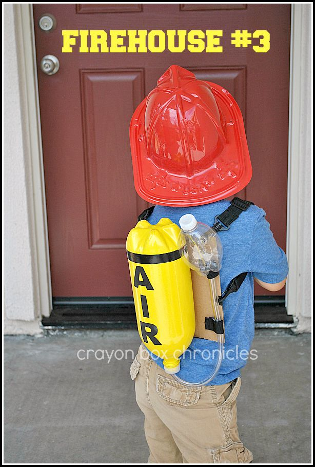 DIY Fireman Air Tank for dress-up by crayon box chronicles.  Easy, fun, and made from recycled materials.
