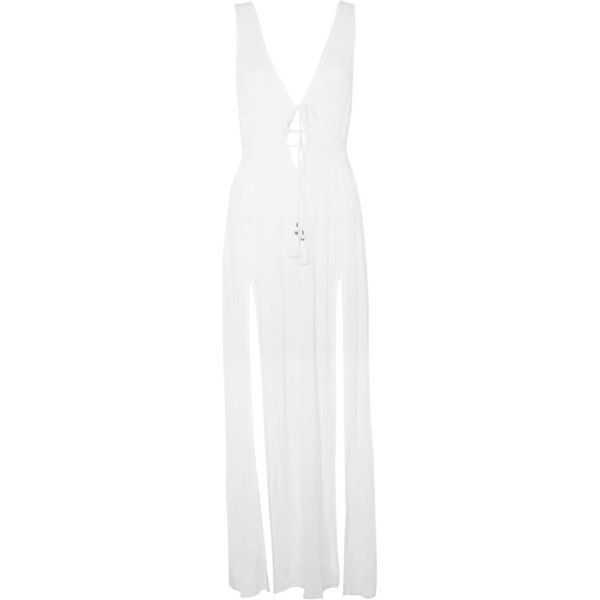 Topshop Beach Maxi Dress ($40) ❤ liked on Polyvore featuring dresses, white, v neck dress, rayon maxi dress, white dress, v neckline dress and white sleeveless dress