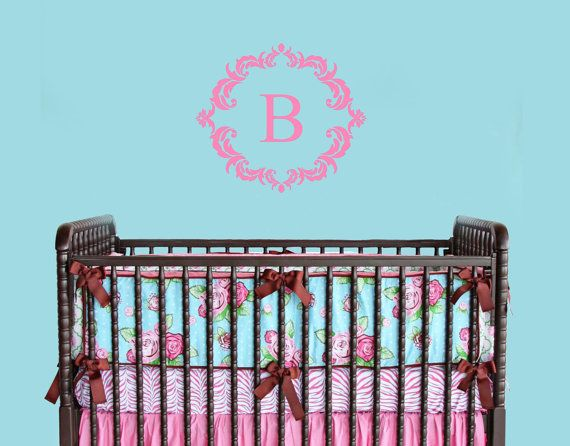 Damask Framed Monogram Decal  Nursery Monogram  Victorian Nursery Decor #wallsticker #vinylwalldecal