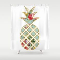 Floral Glitter Pineapple Shower Curtain