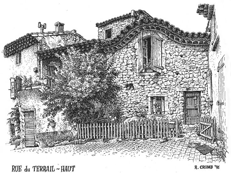 ink drawings of buildings | The Visual Exegesis: R. Crumb's Drawings of Buildings