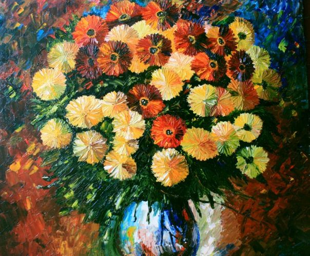 "Oil Painting Reproduction Leonid Afremov ""Golden-daisies"" (60*70 oil/canvas, 2011) Копия картины Леонида Афремова 60*70, холст/масло, 2011г. © chuprovart"