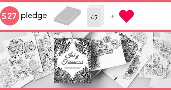 Inky Treasures is a collection of adult coloring illustrations depicting fantasy themes, charming objects, floral ornaments and more!
