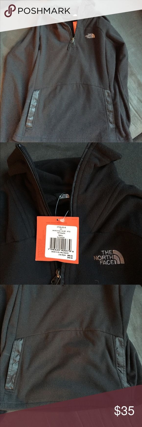 Black North Face Fleece- NWT NWT black fleece quarter zip from The North Face factory outlet store. Women's size small. Has a large pocket on the front of the jacket like a hoodie would have. The North Face Tops Sweatshirts & Hoodies