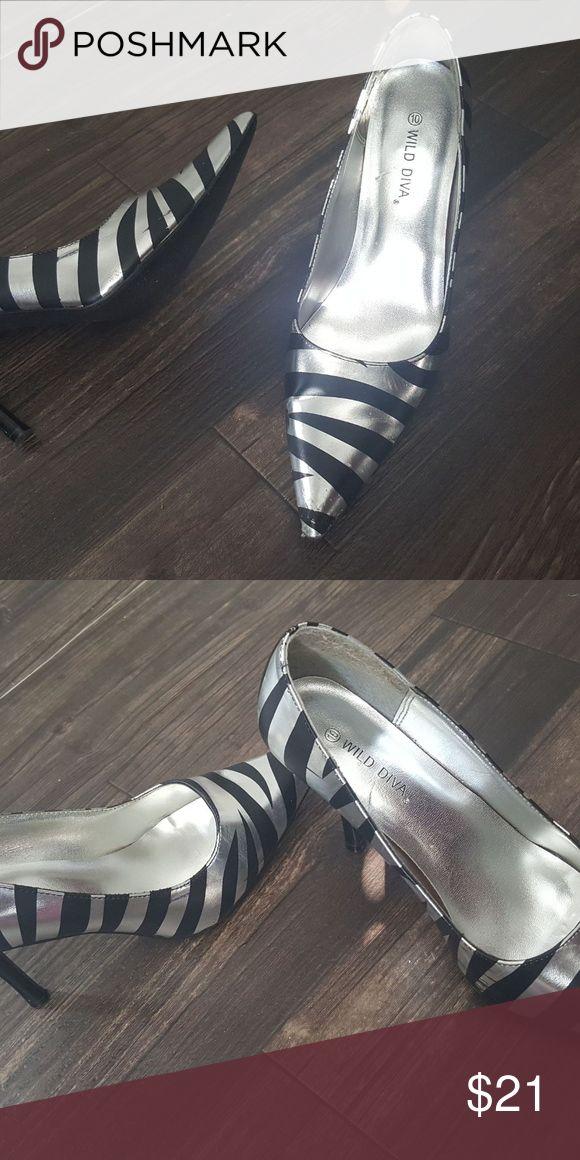 Silver zebra heel Fun shoe, wear casually or with business attire. Wild Diva Shoes Heels