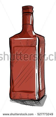 Hand-drawn bottle for alcoholic beverages. The rectangular shape. Vector illustration.