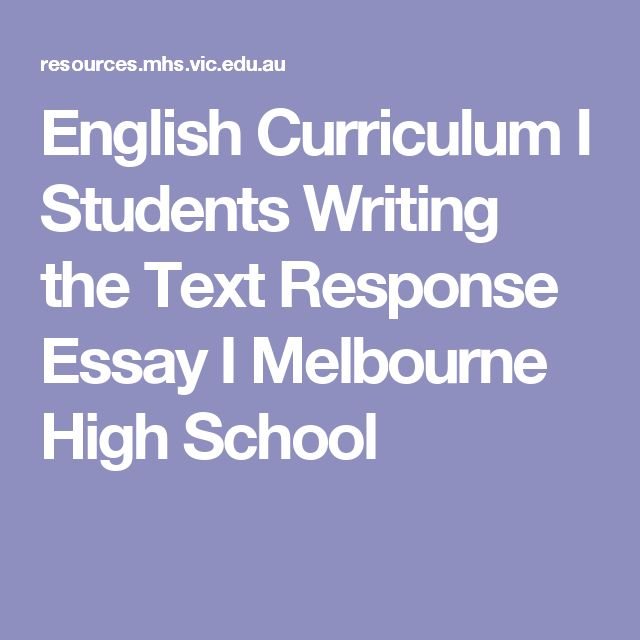 English Curriculum I Students Writing the Text Response Essay I Melbourne High School
