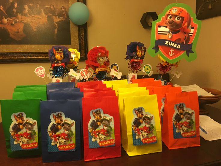 Paw patrol goody bags. I used thank you cards to decorate ...