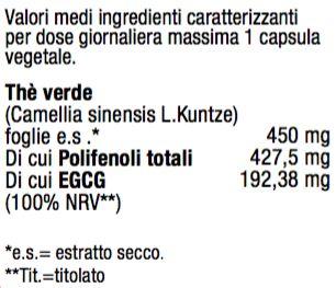 THÈ VERDE EGCG - ESTRATTO DA FOGLIE DI THÈ VERDE TITOLATO 45% IN EGCG Il Thè verde favorisce l'equilibrio del peso corporeo e il drenaggio dei liquidi.
