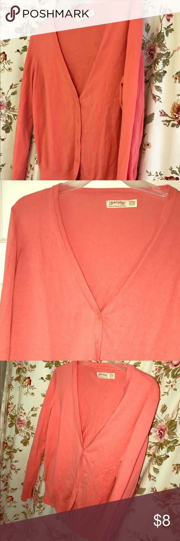 NWOT- Beautiful Coral Cardigan 😍🌸🍑 NWOT-Beautiful Coral Cardigan 😍🌸🍑 So pretty. Nice, thin & summery material. Perfect for those summer nights!! Bundle & Save!! Faded Glory Sweaters Cardigans