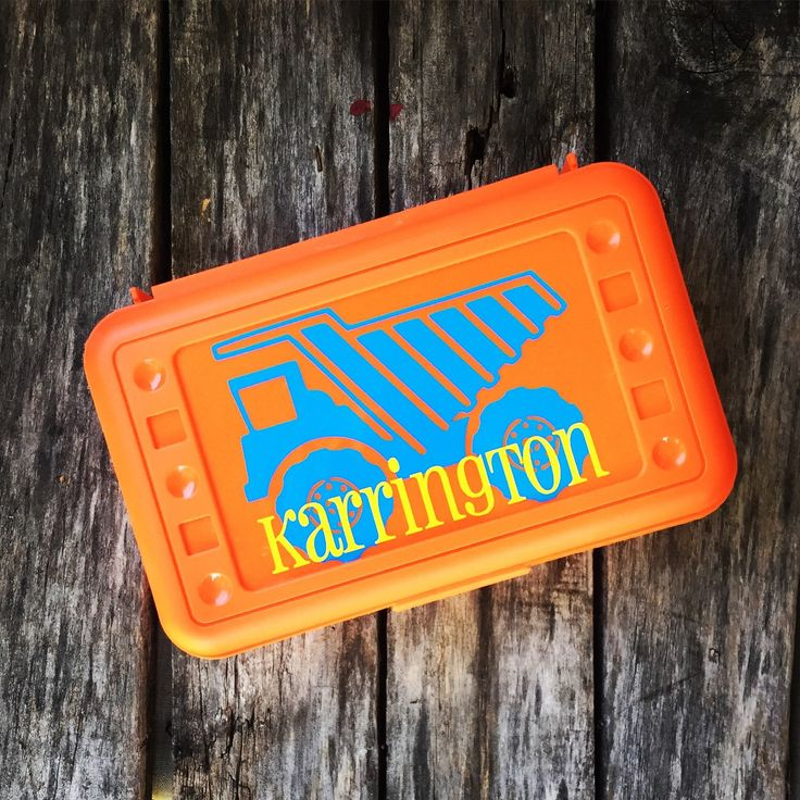 Personalized Pencil Box Dumptruck Back To School Pencil Box School Box Crayon Box