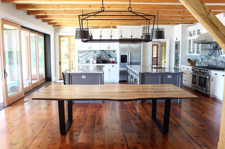 Live edge White Oak dining table created for Muskoka cottage | Living Wood Design