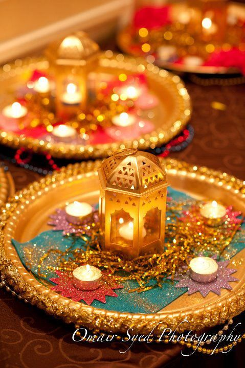 Thalis decorated with a small lattern and few candles. Very simple and elegant #asianweddingshow #asianwedding #asianweddingmag