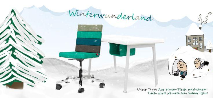 Winter bei sitting cool. Auch wenn es draußen noch nicht danach aussieht: wir bauen unser Iglu dann eben aus Kindertisch und Tuch oder Decke...