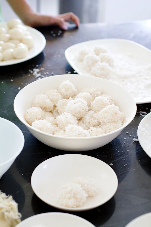 Palitaw - most addicting little snack.  Soft and kind of chewy, little balls rolled in coconut & sugar (glutinous rice flour balls)