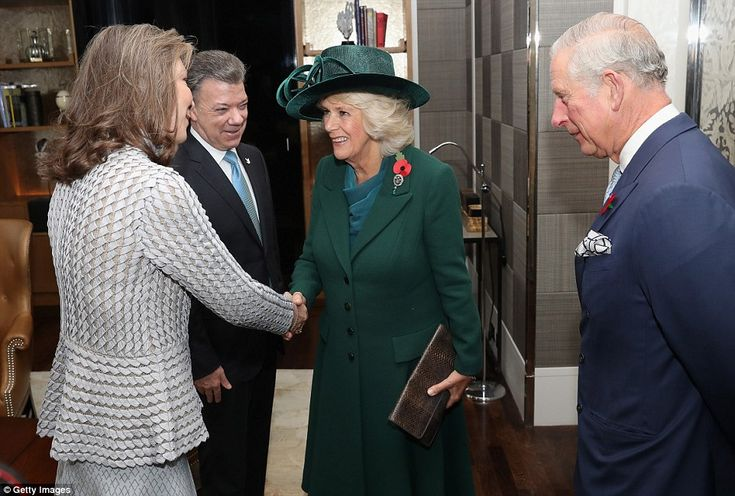 Prince Charles and Camilla, Duchess of Cornwall greets President of Colombia Juan Manuel S...