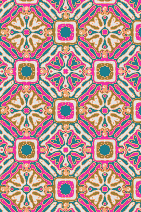 Bohemian Tile by bledsoelm - Pink, olive, teal, and gold tile design on fabric, wallpaper, and gift wrap.  Beautiful Persian/Moroccan style tile with a modern twist.