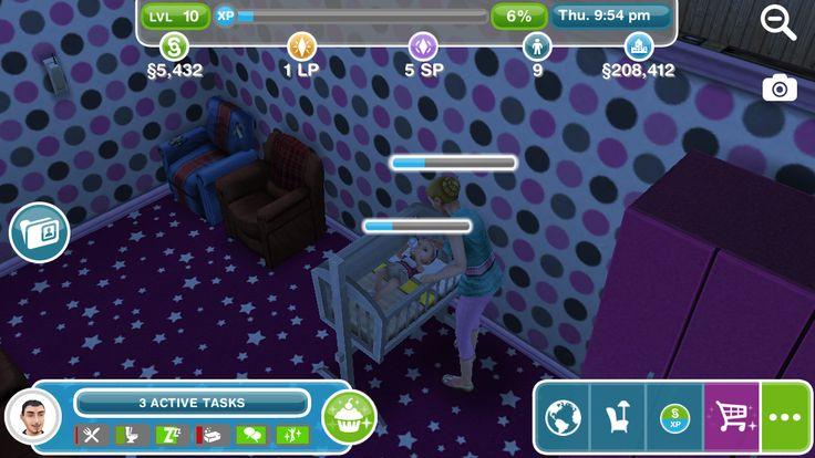 My sim is feeding her baby name Chloe Jones and my sim's name is Mackenzie Jones, my name.