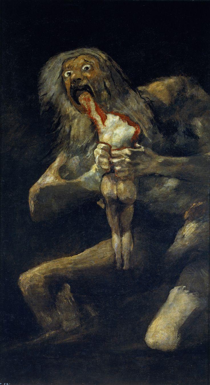 """SATURNO DIVORA UN SUO FIGLIO Questa opera di Goya risale  circa al 1821-1823 è un olio su intonaco, strappato e riportato su tela 146×83 cm.  E' uno dei più orrorificì di tutta l'arte occidentale, è stato realizzato da Goya nel suo periodi""""NERO"""", quando, già malato e disilluso si era ritirato nella Quinta del Sordo.  La scena di Saturno che divora uno dei suoi cinque figli è di grande impatto motivo... #art #Goya #history #oil #Saturno"""