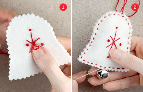 christmas ornaments with bells | christmas gifts: felt holiday ornaments + free ornament templates ...