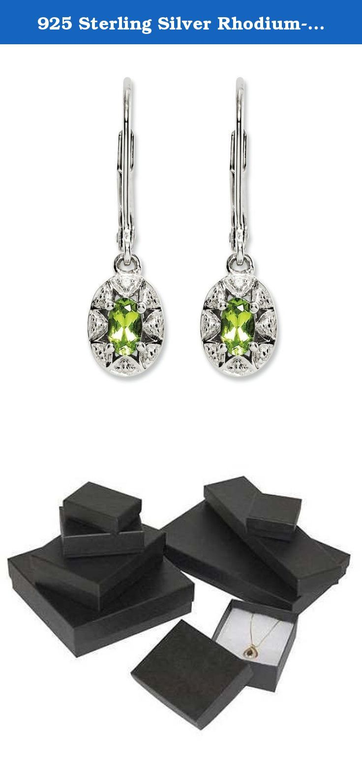 925 Sterling Silver Rhodium-plated Diamond & Peridot August Stone Dangle Earrings. 925 Sterling Silver Rhodium-plated Diamond & Peridot August Stone Dangle Earrings. Features: Dangle - Diamond - Peridot - Polished - Rhodium-plated - silver. All Colored Stones Have Been Treated to Produce and Enhance Color: Amethyst - Heat Treated || Aquamarine - Heat Treated || Citrine - Heat Treated || Emerald - Resin/Oiling || Garnet - Not Enhanced || Onyx - Dyed || Opal - Impregnation/Dyed/Heat…