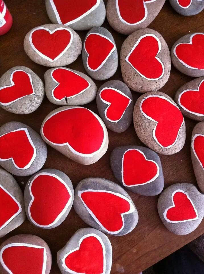 Red heart stones