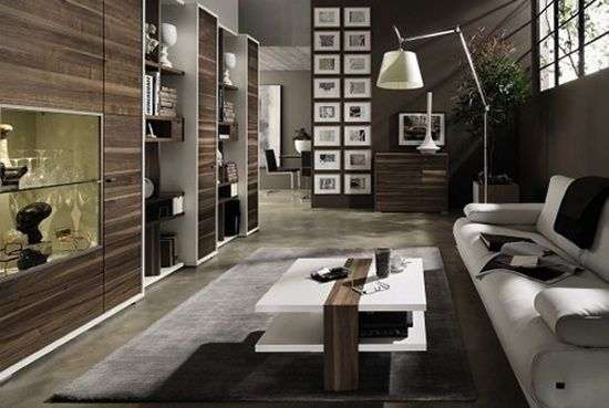 темные стены, мебель