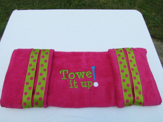 Custom golf cart seat cover 30x54 Pink with green and by Towelitup, $27.00