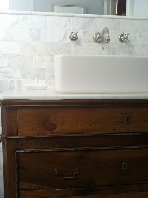 Bathrooms White Carrara Marble Subway Tiles Backsplash White Porcelain Sink Polished Nickel