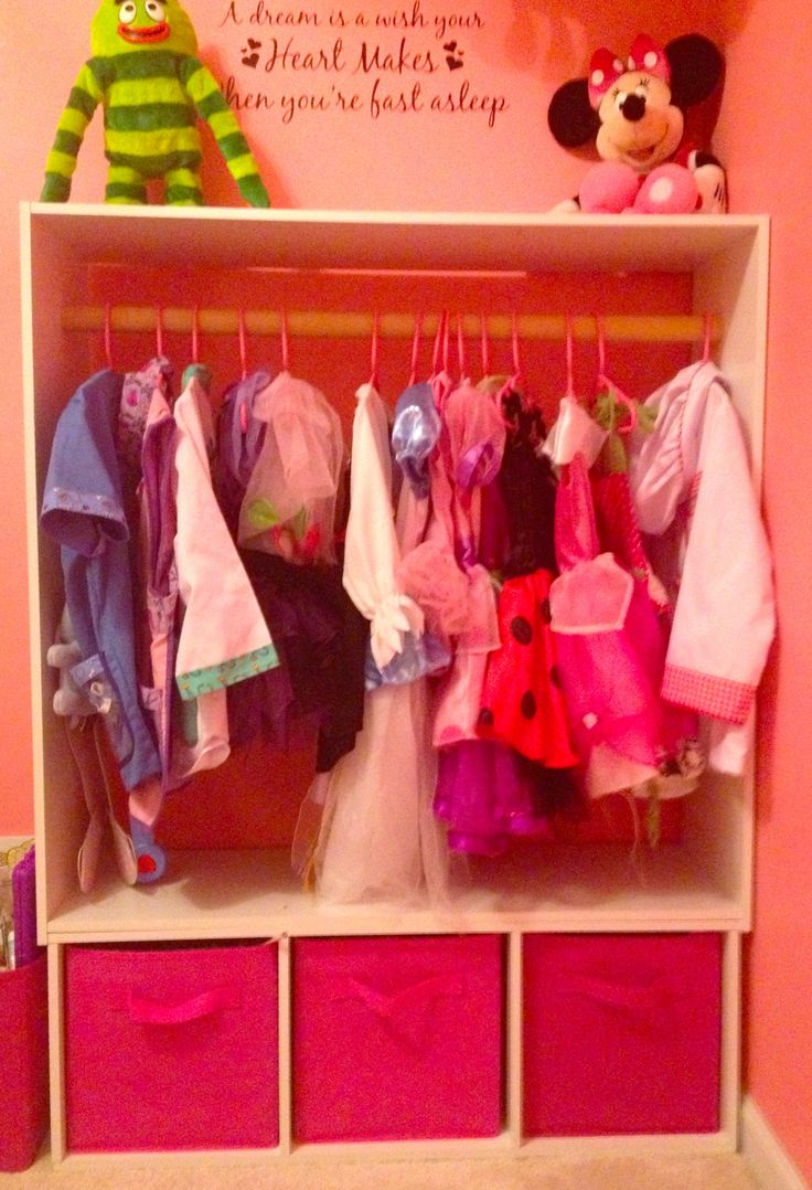 Dress-up clothes storage!! Homemade and extremely functional!!! So happy with the way it turned out! :0)