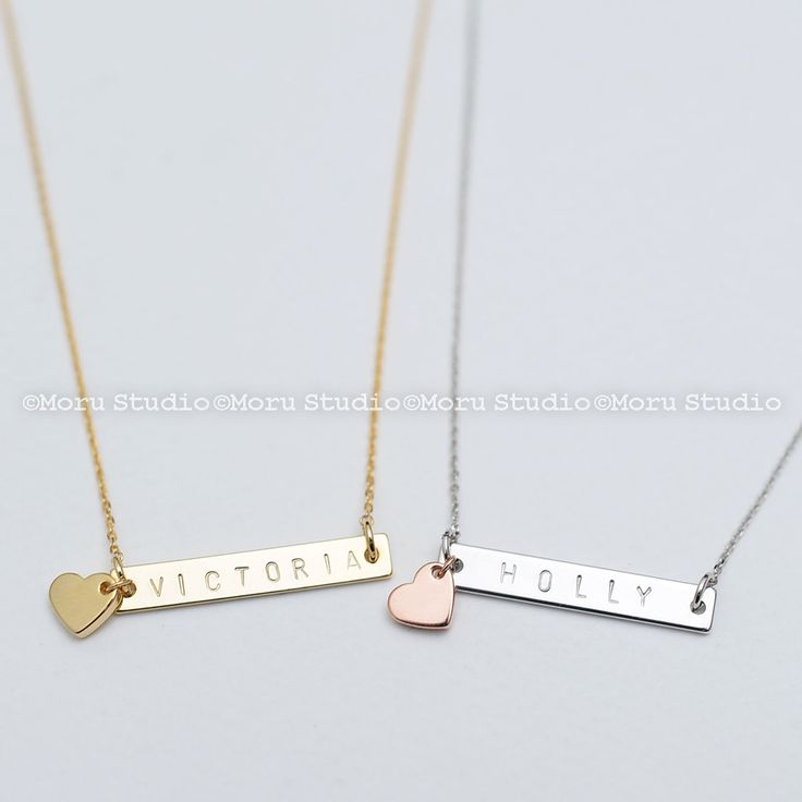 Personalized Bar Necklace w Heart Charm/ Gold Name Bar, Initial Necklace, Rose Gold,Silver Necklace, Bridesmaid, Mothers Day Gift NBR031-2 by MoruStudio on Etsy  We've put a twist on our name bar necklace and offset it with a tiny cute heart charm. You can personalize the name bar with a name as shown, a nickname, initials, dates or even a short phrases!   #PersonalizedBarNecklace #HeartCharm #GoldNameBar #InitialNecklace #RoseGold #SilverNecklace #Bridesmaid #MothersDayGift