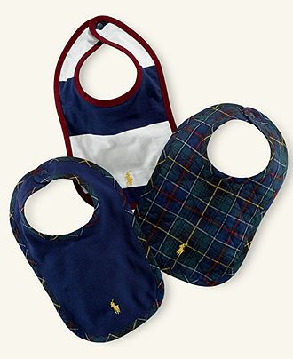 Ralph Lauren Baby Bibs, Baby Boys Scoop-Neck Bib 3-Pack - Kids Ralph Lauren Baby Gift Shop - Macy's