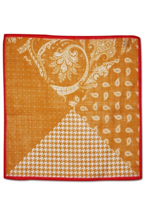 Koyu Sarı Pamuk Kravat Mendili KM0148 - Yellow Pocket Square